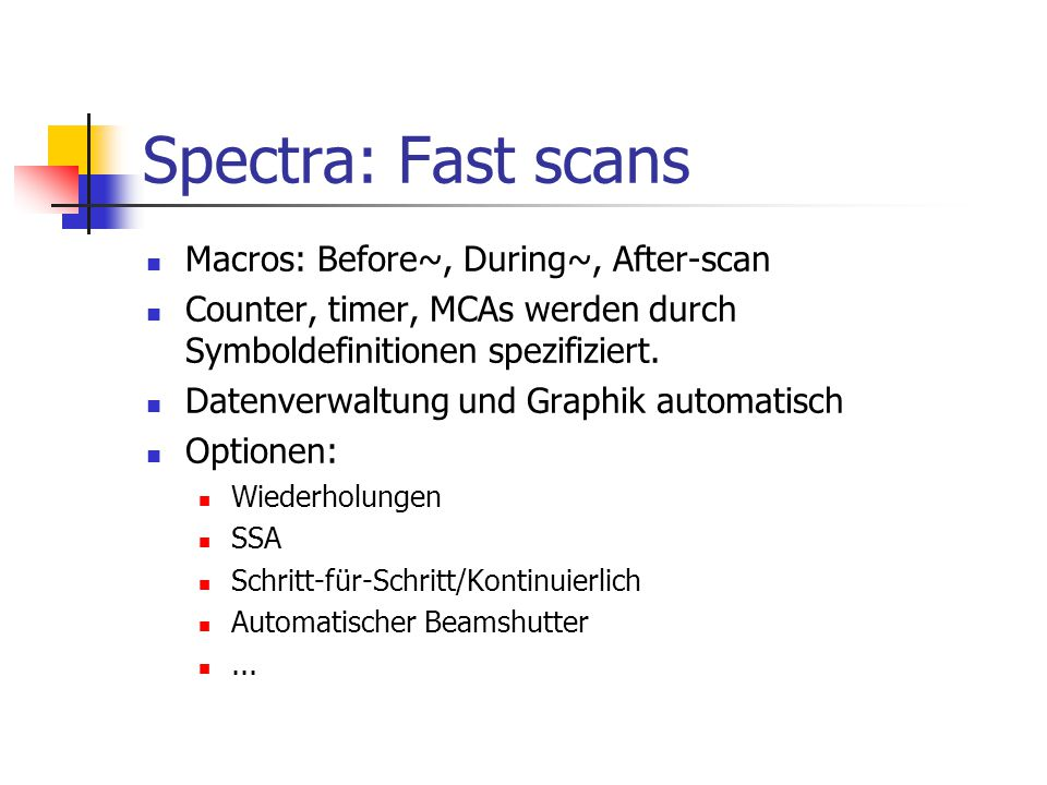 Spectra: Fast scans Macros: Before~, During~, After-scan