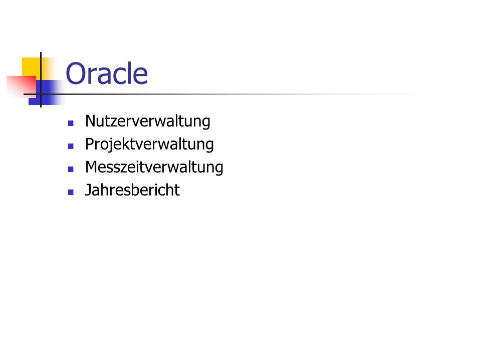 Oracle Nutzerverwaltung Projektverwaltung Messzeitverwaltung