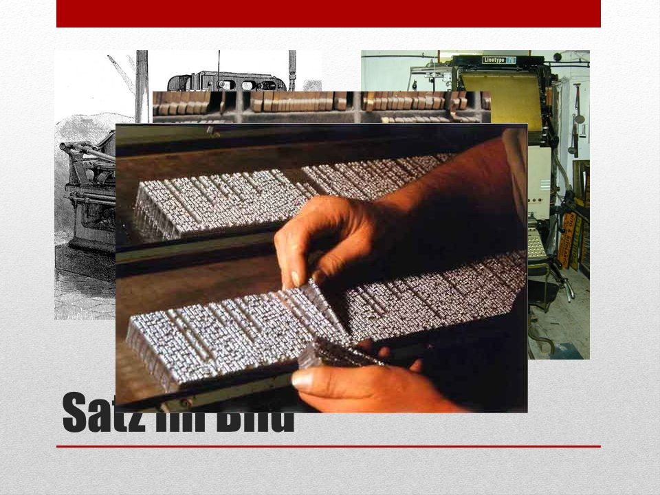 Satz im Bild Links eine Linotype von 1889, rechts die Linotype 78, die bis in die 80erjahre des 20. Jahrhunderts in Gebrauch war.