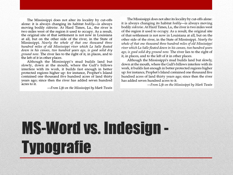 MS-Word vs. Indesign - Typografie