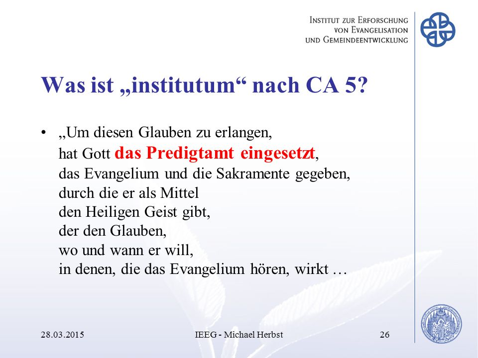"Was ist ""institutum nach CA 5"