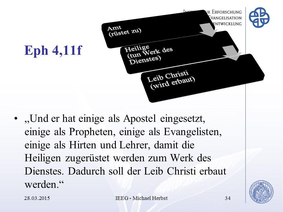 Amt (rüstet zu) Heilige (tun Werk des Dienstes) Leib Christi (wird erbaut) Eph 4,11f.