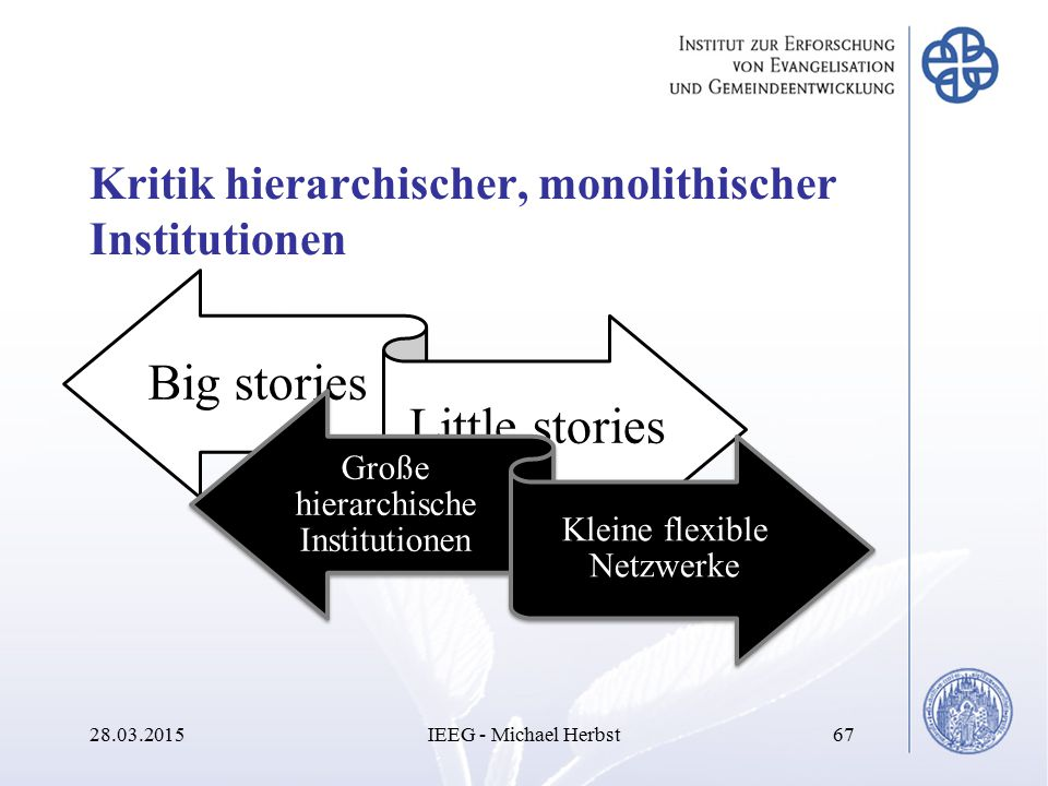 Kritik hierarchischer, monolithischer Institutionen