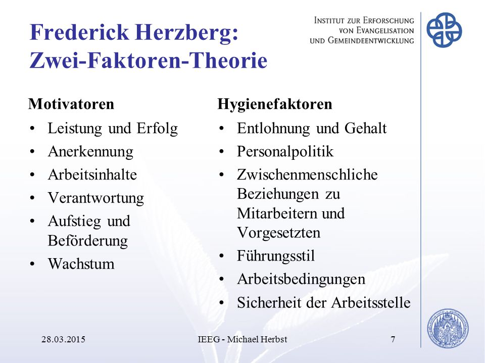 Frederick Herzberg: Zwei-Faktoren-Theorie