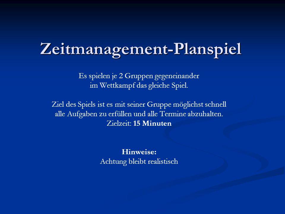 Zeitmanagement-Planspiel