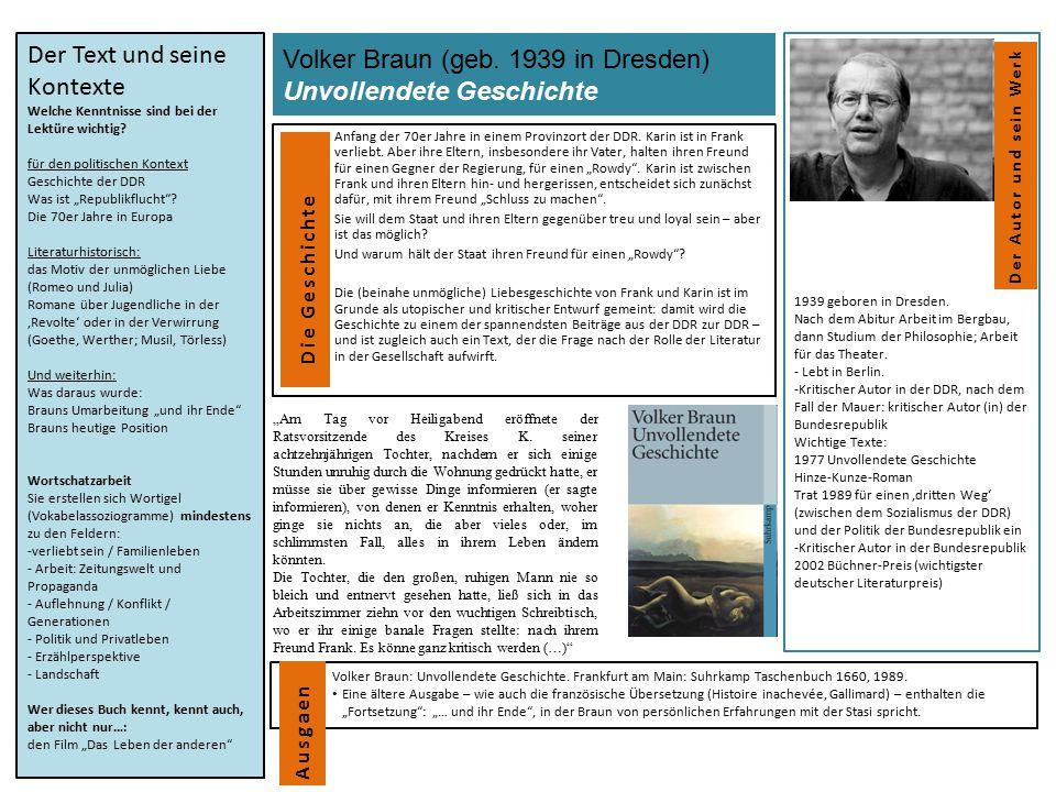 Volker Braun (geb. 1939 in Dresden) Unvollendete Geschichte