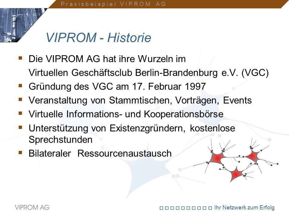 VIPROM - Historie Die VIPROM AG hat ihre Wurzeln im