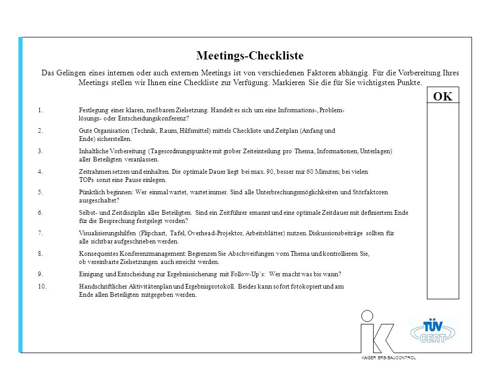 Meetings-Checkliste OK