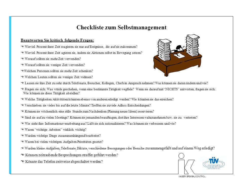 Checkliste zum Selbstmanagement