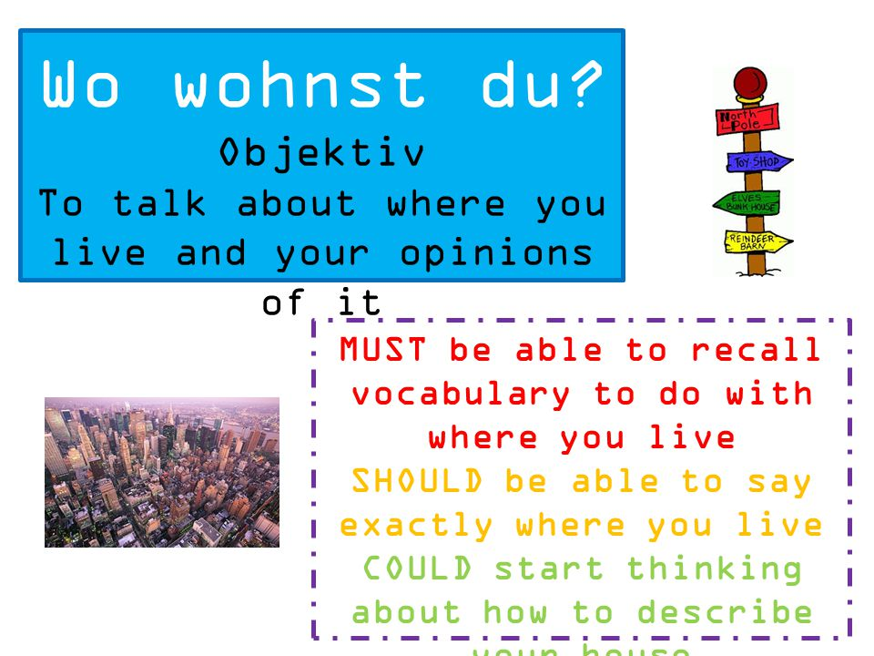Wo wohnst du Objektiv. To talk about where you live and your opinions of it. MUST be able to recall vocabulary to do with where you live.