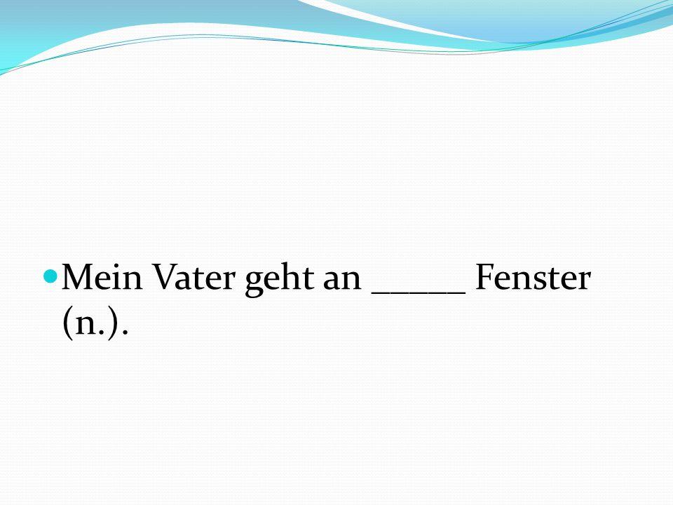 Mein Vater geht an _____ Fenster (n.).