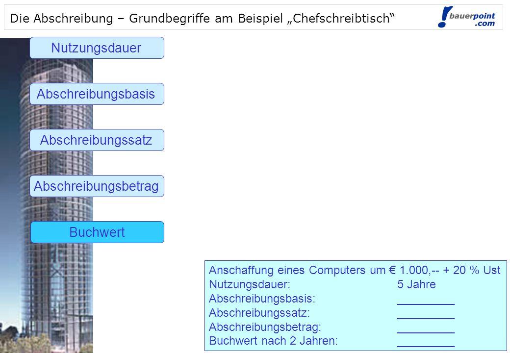 Nutzungsdauer Abschreibungsbasis Abschreibungssatz Abschreibungsbetrag
