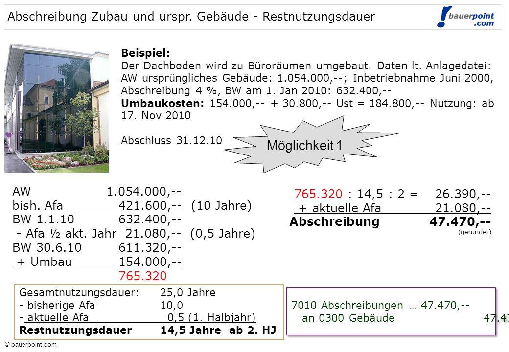 Abschreibung Zubau und urspr. Gebäude - Restnutzungsdauer