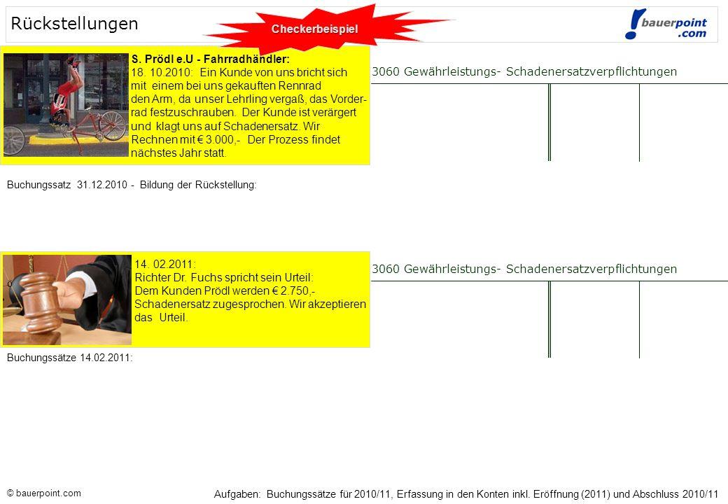 Rückstellungen Checkerbeispiel S. Prödl e.U - Fahrradhändler:
