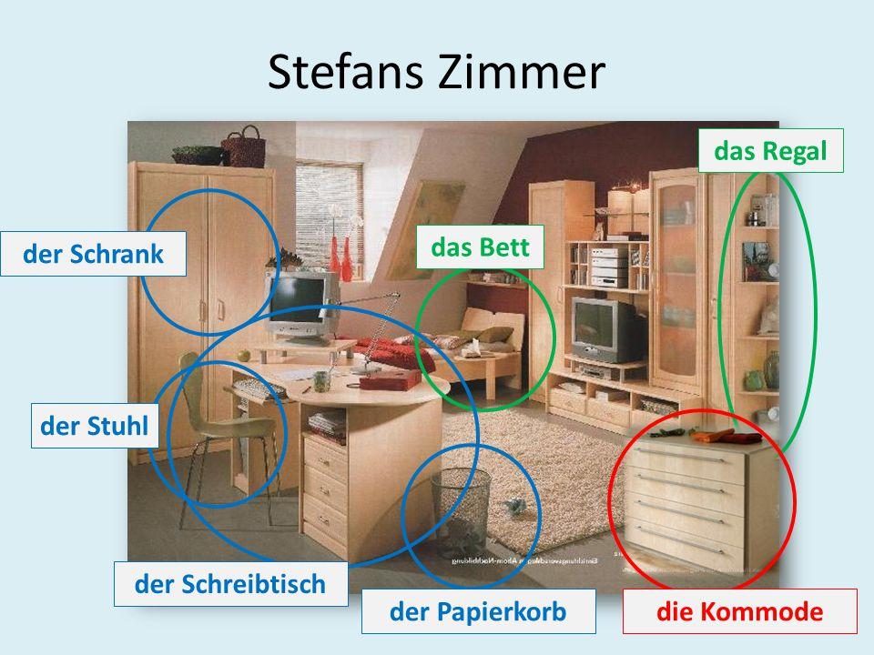Stefans Zimmer das Regal das Bett der Schrank der Stuhl