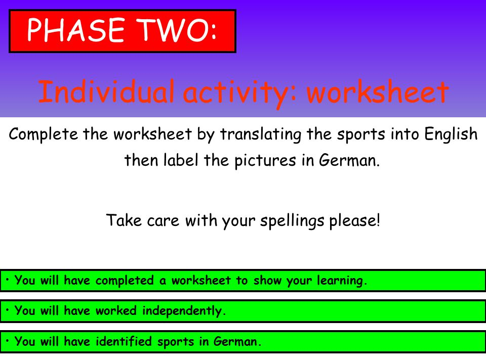 Individual activity: worksheet