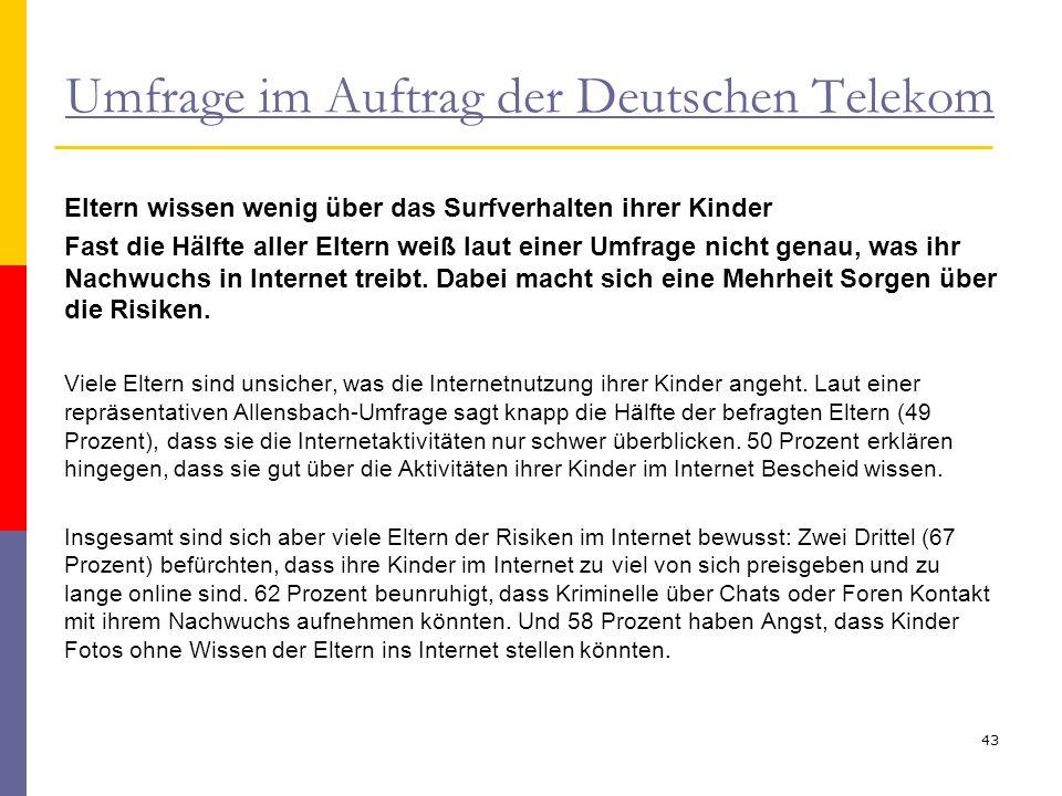 Umfrage im Auftrag der Deutschen Telekom