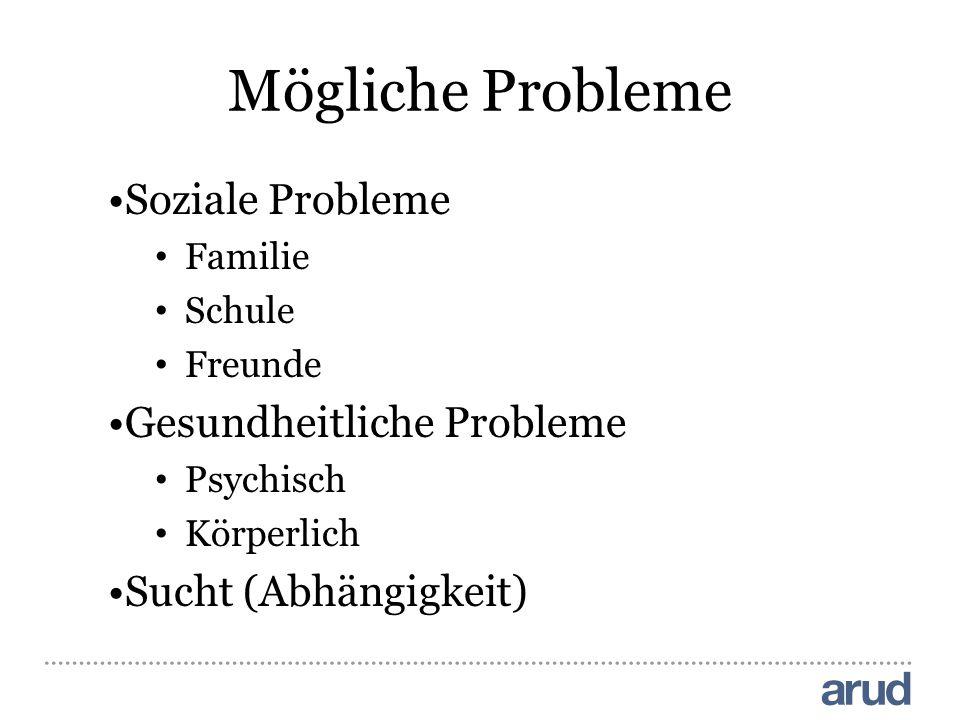 Mögliche Probleme Soziale Probleme Gesundheitliche Probleme