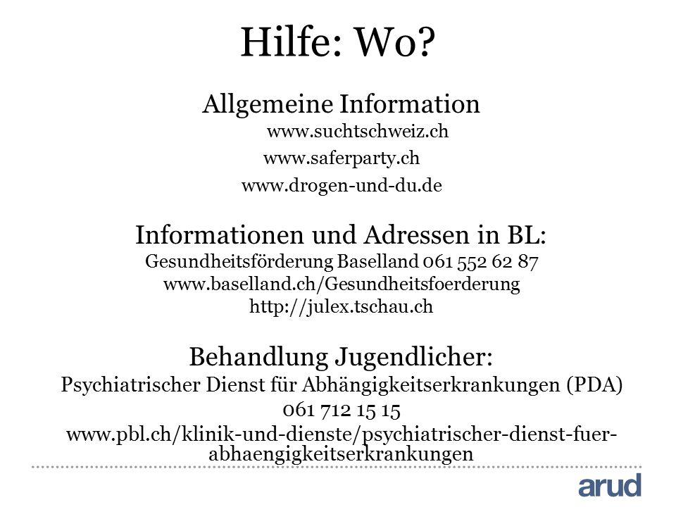 Hilfe: Wo Allgemeine Information Informationen und Adressen in BL: