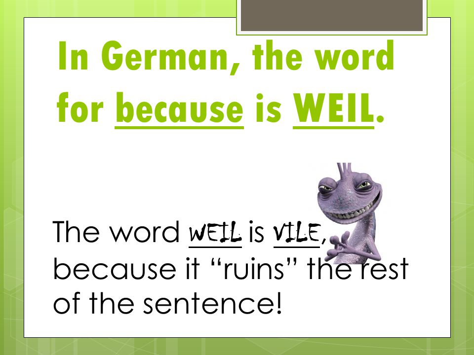In German, the word for because is WEIL.