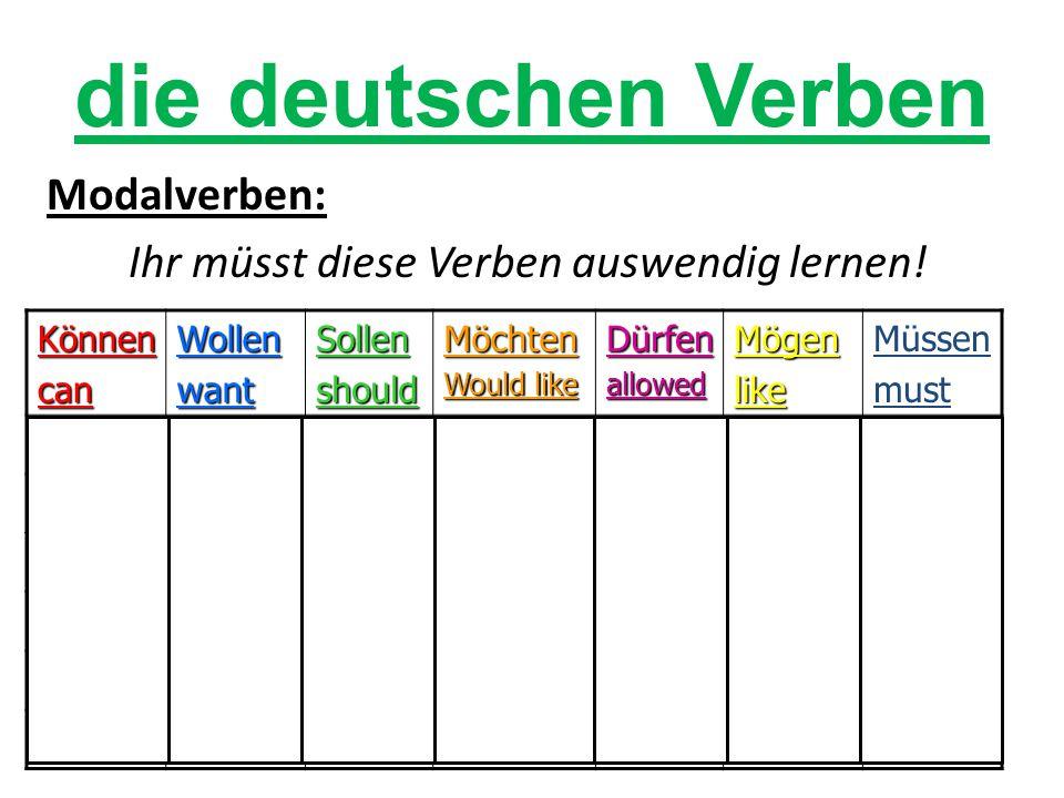 die deutschen Verben Modalverben: Ihr müsst diese Verben auswendig lernen! Können. can. Wollen.