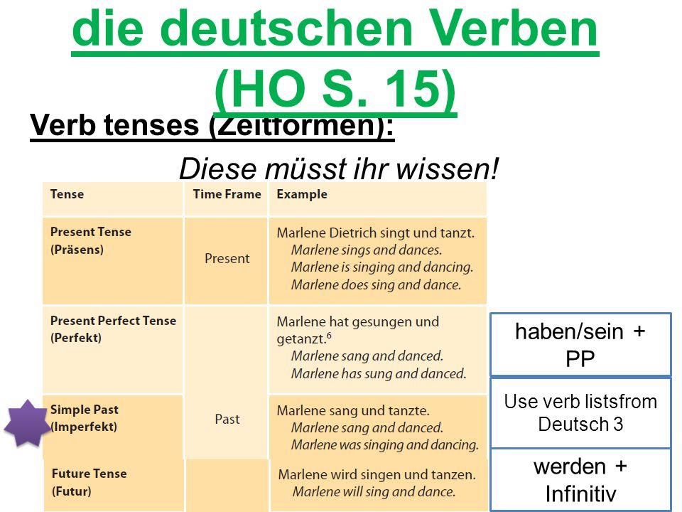 die deutschen Verben (HO S. 15)
