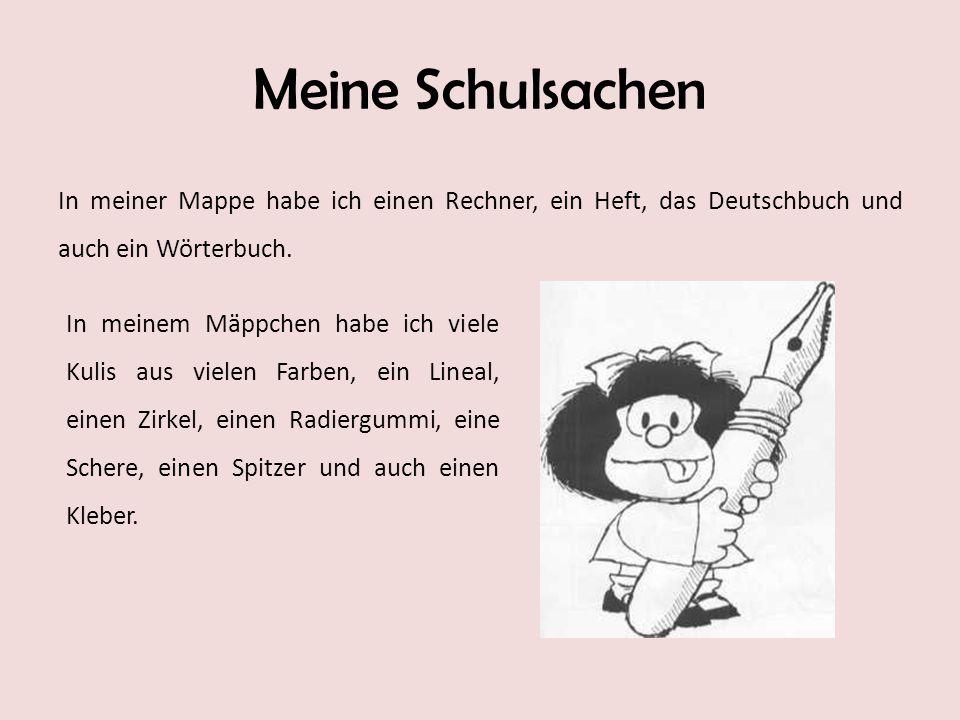 Meine Schulsachen In meiner Mappe habe ich einen Rechner, ein Heft, das Deutschbuch und auch ein Wörterbuch.