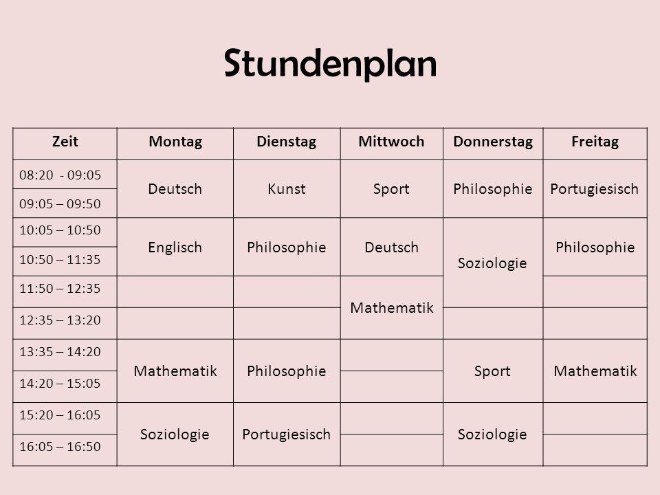 Stundenplan Zeit Montag Dienstag Mittwoch Donnerstag Freitag Deutsch