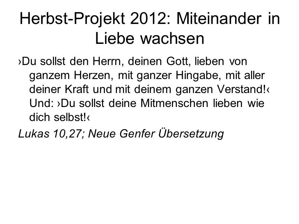 Herbst-Projekt 2012: Miteinander in Liebe wachsen