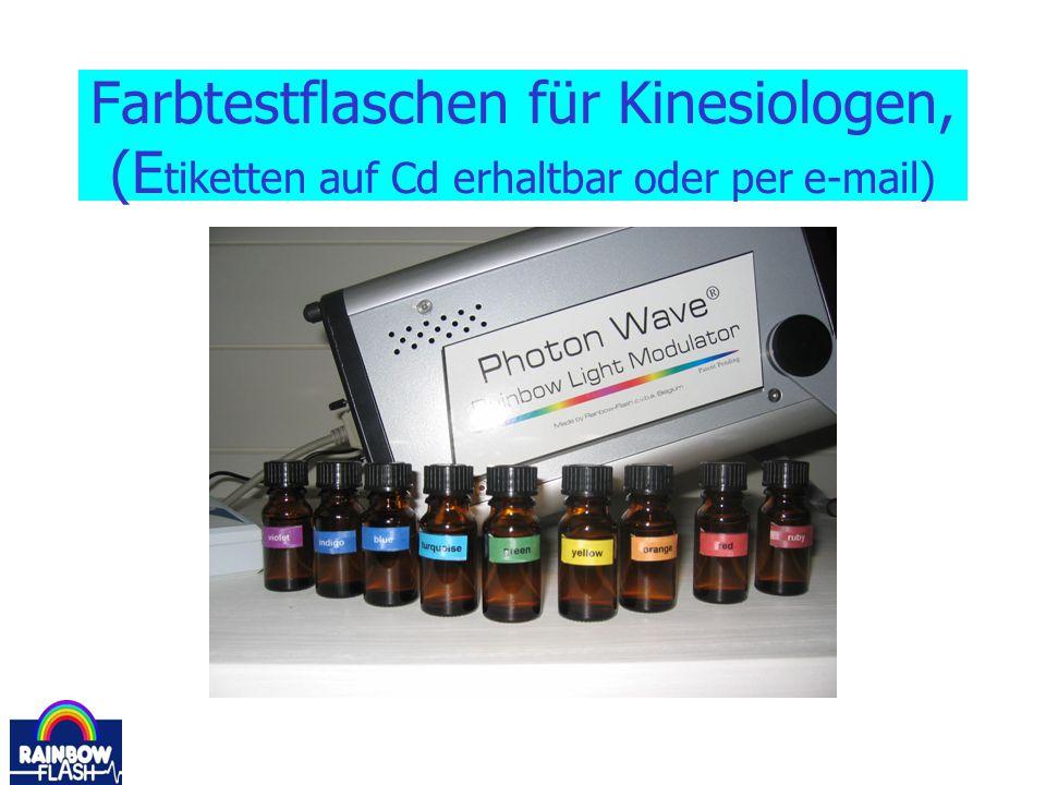 Farbtestflaschen für Kinesiologen, (Etiketten auf Cd erhaltbar oder per e-mail)