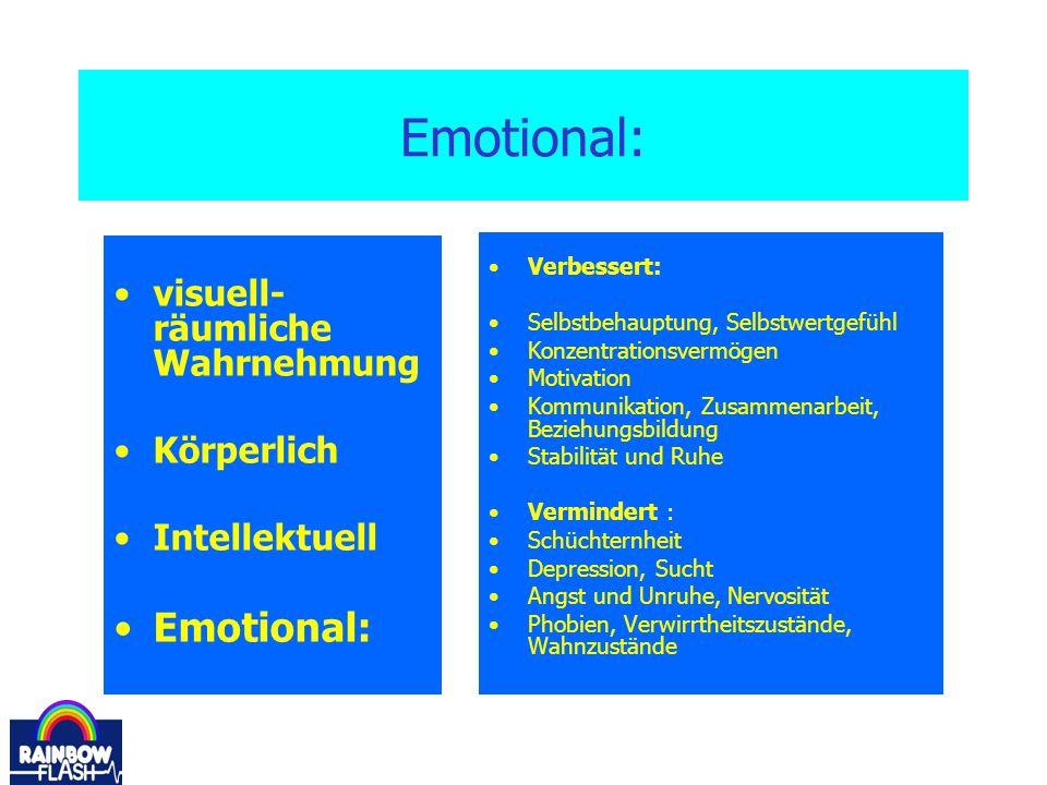 Emotional: Emotional: visuell-räumliche Wahrnehmung Körperlich