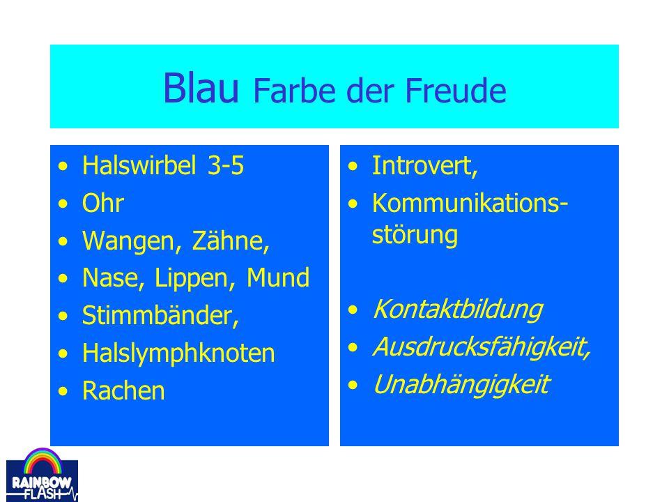 Blau Farbe der Freude Halswirbel 3-5 Ohr Wangen, Zähne,