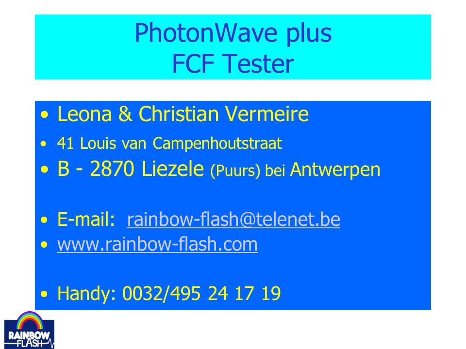 PhotonWave plus FCF Tester