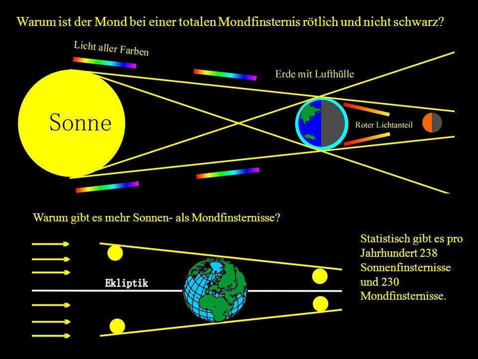 Warum ist der Mond bei einer totalen Mondfinsternis rötlich und nicht schwarz