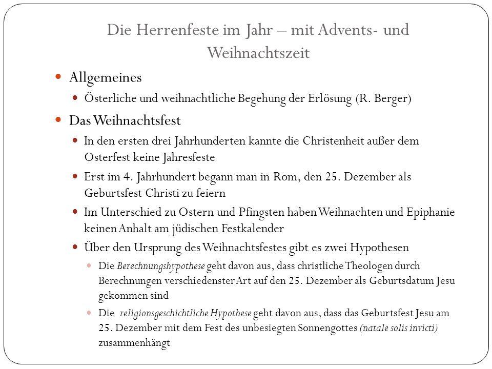 Die Herrenfeste im Jahr – mit Advents- und Weihnachtszeit