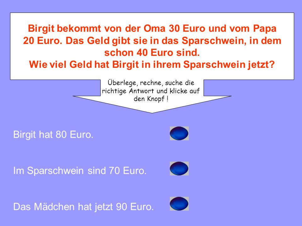 Im Sparschwein sind 70 Euro.