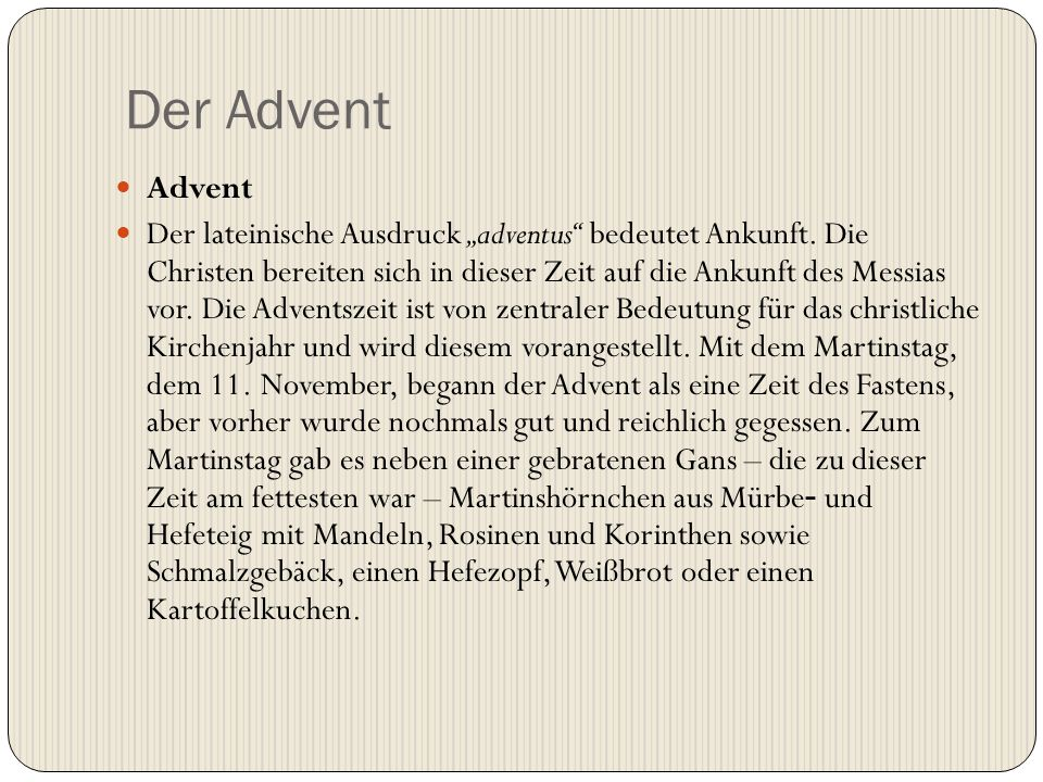 Der Advent Advent.