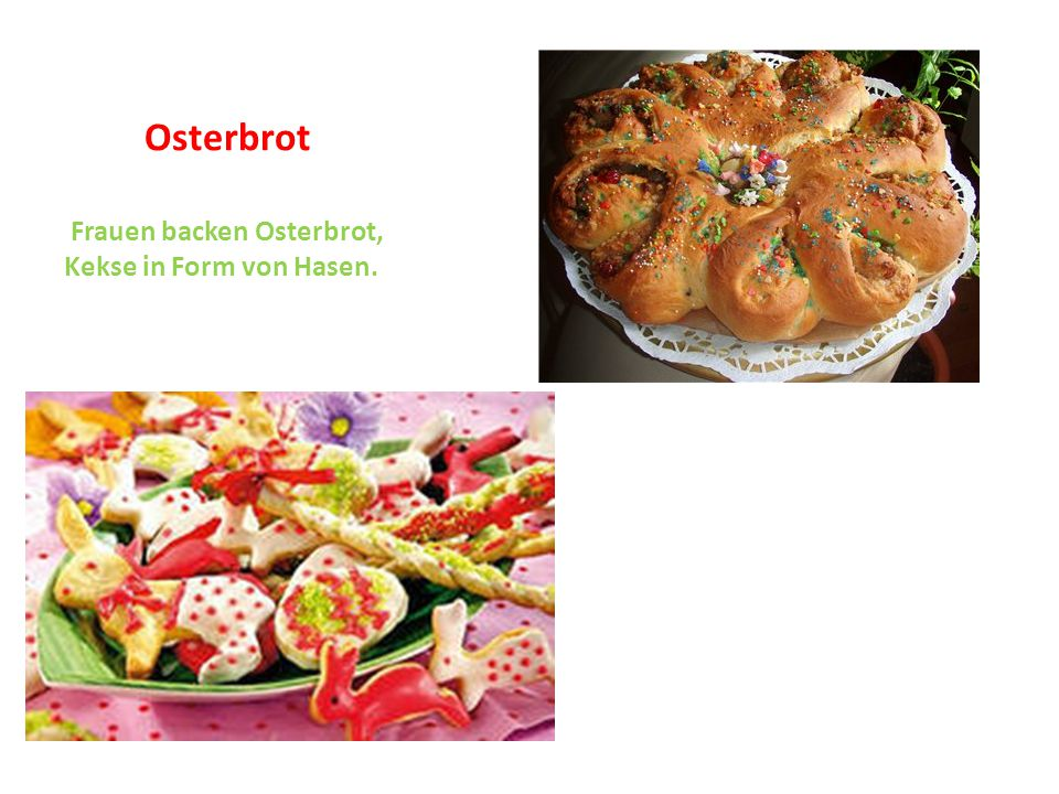 Osterbrot Frauen backen Osterbrot, Kekse in Form von Hasen.