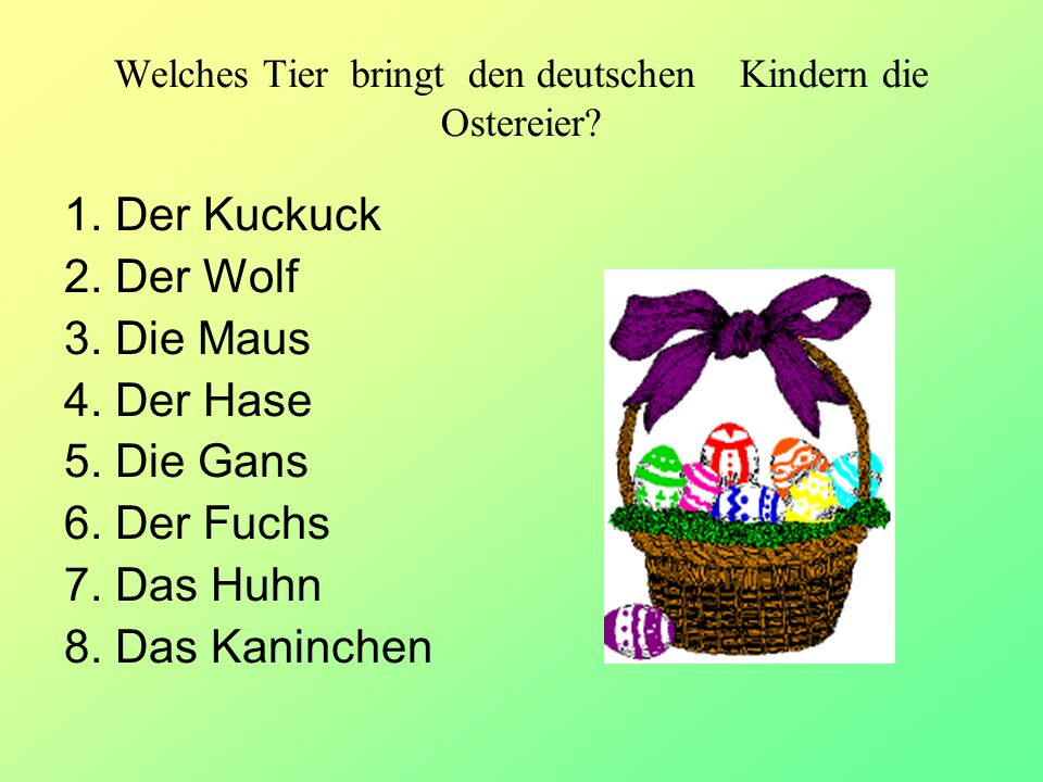 Welches Tier bringt den deutschen Kindern die Ostereier