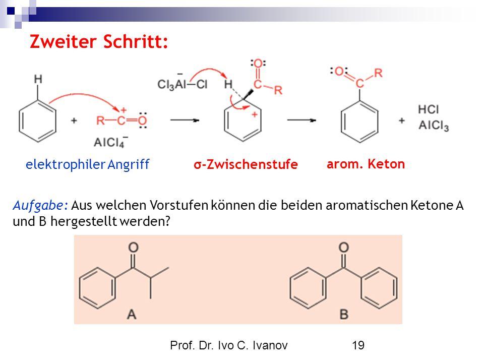 Zweiter Schritt: elektrophiler Angriff σ-Zwischenstufe arom. Keton