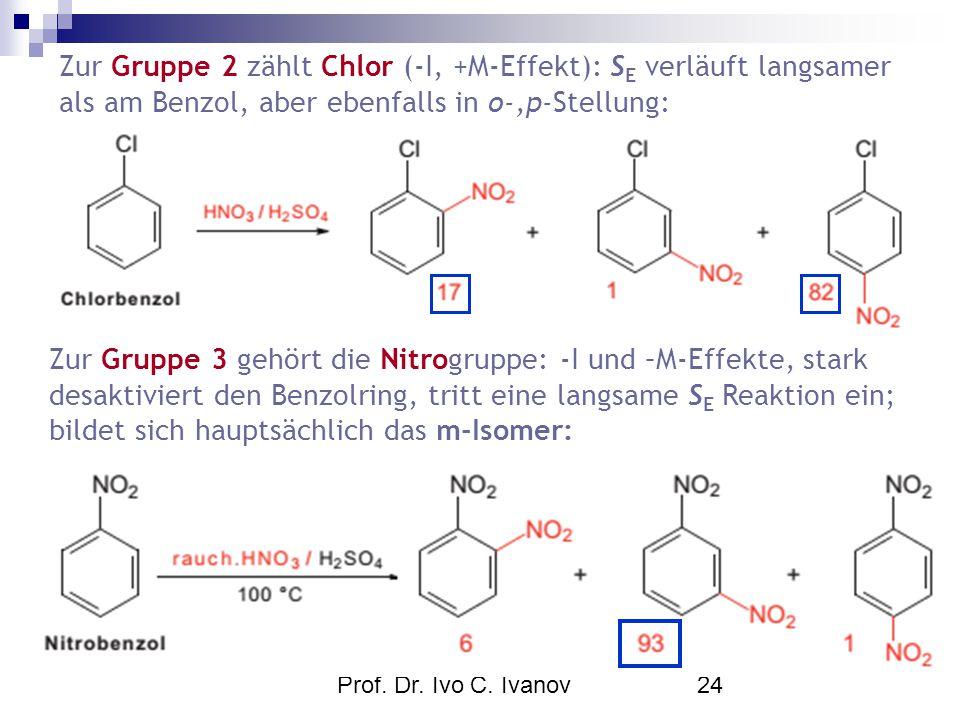 Zur Gruppe 2 zählt Chlor (-I, +M-Effekt): SE verläuft langsamer als am Benzol, aber ebenfalls in o-,p-Stellung: