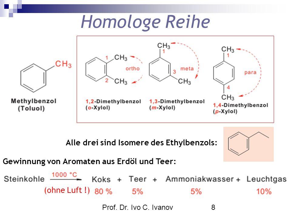 Homologe Reihe Alle drei sind Isomere des Ethylbenzols: