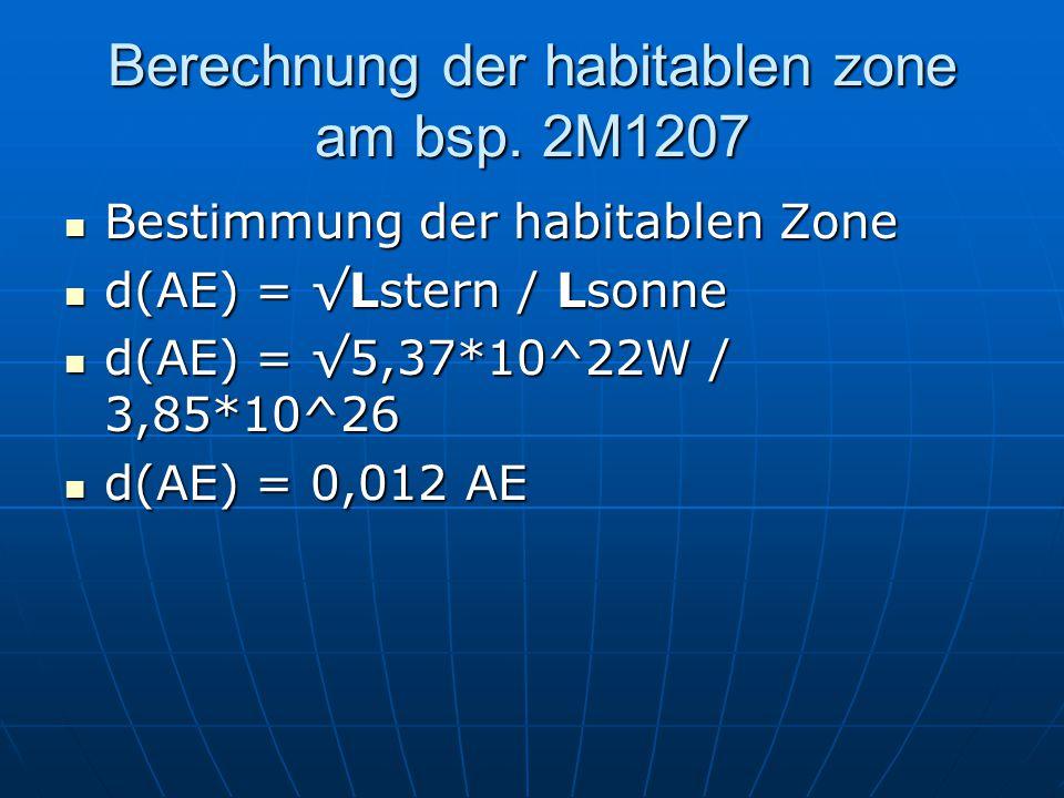 Berechnung der habitablen zone am bsp. 2M1207