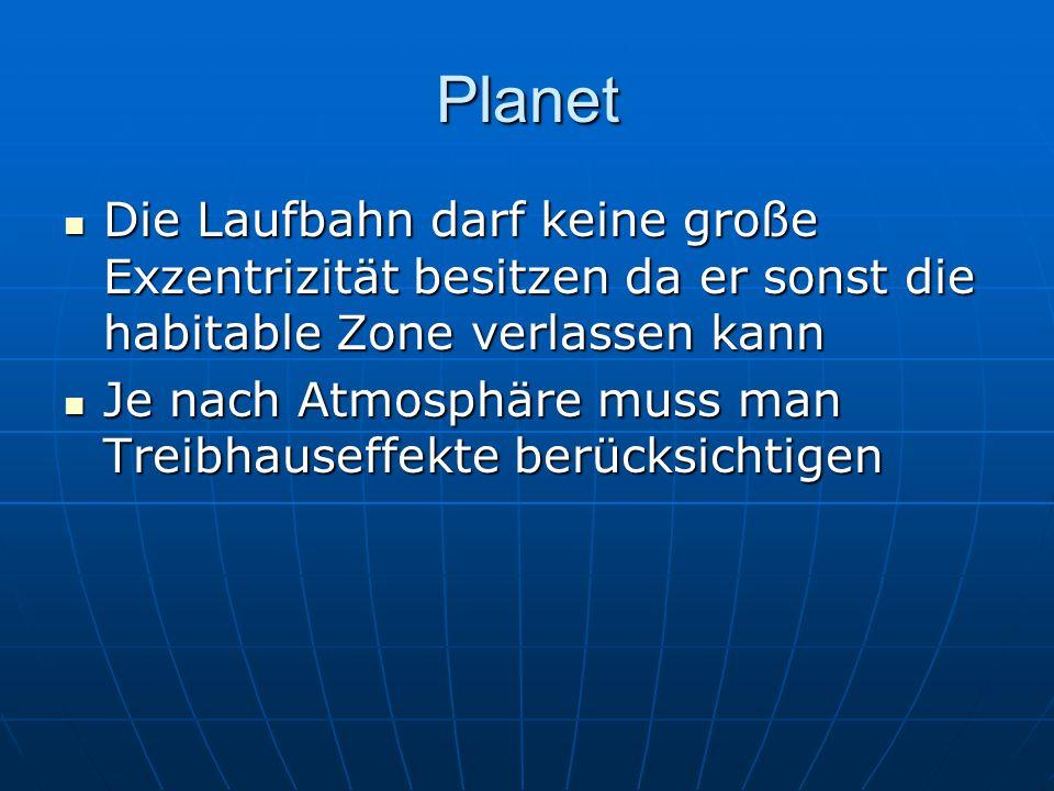 Planet Die Laufbahn darf keine große Exzentrizität besitzen da er sonst die habitable Zone verlassen kann.