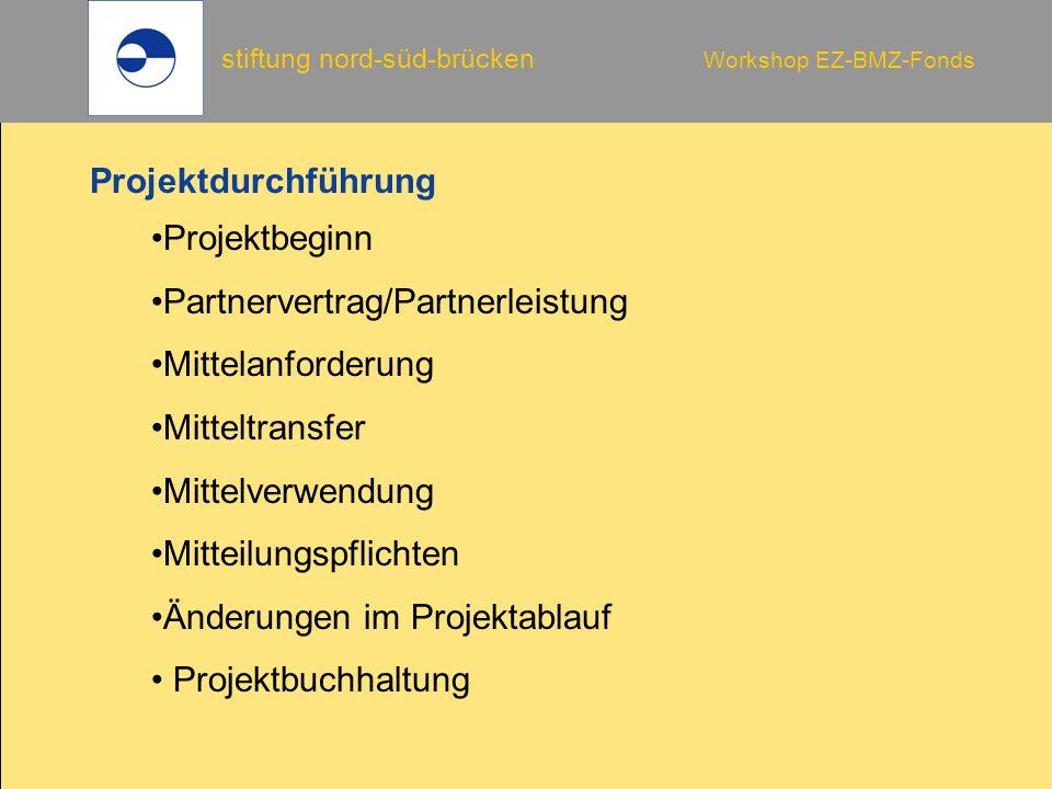 Projektdurchführung Projektbeginn. Partnervertrag/Partnerleistung. Mittelanforderung. Mitteltransfer.