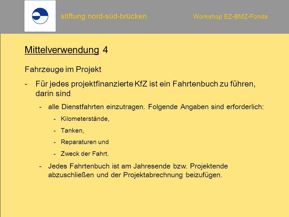Mittelverwendung 4 Fahrzeuge im Projekt