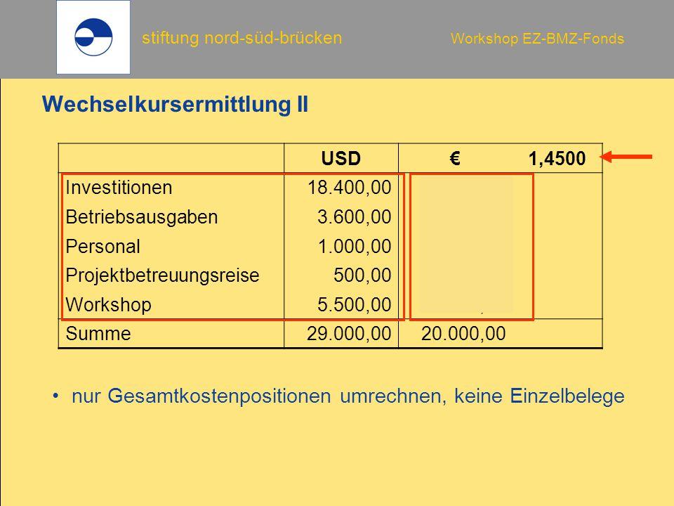 Wechselkursermittlung II