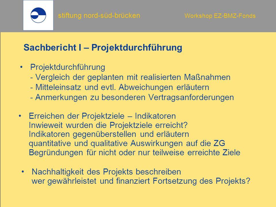 Sachbericht I – Projektdurchführung
