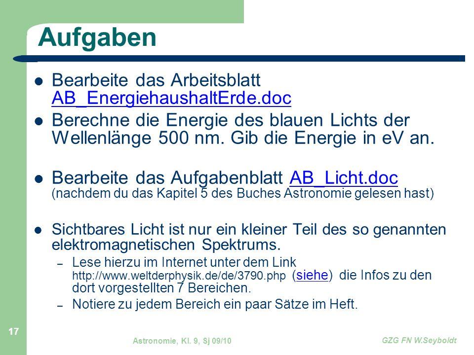 Aufgaben Bearbeite das Arbeitsblatt AB_EnergiehaushaltErde.doc