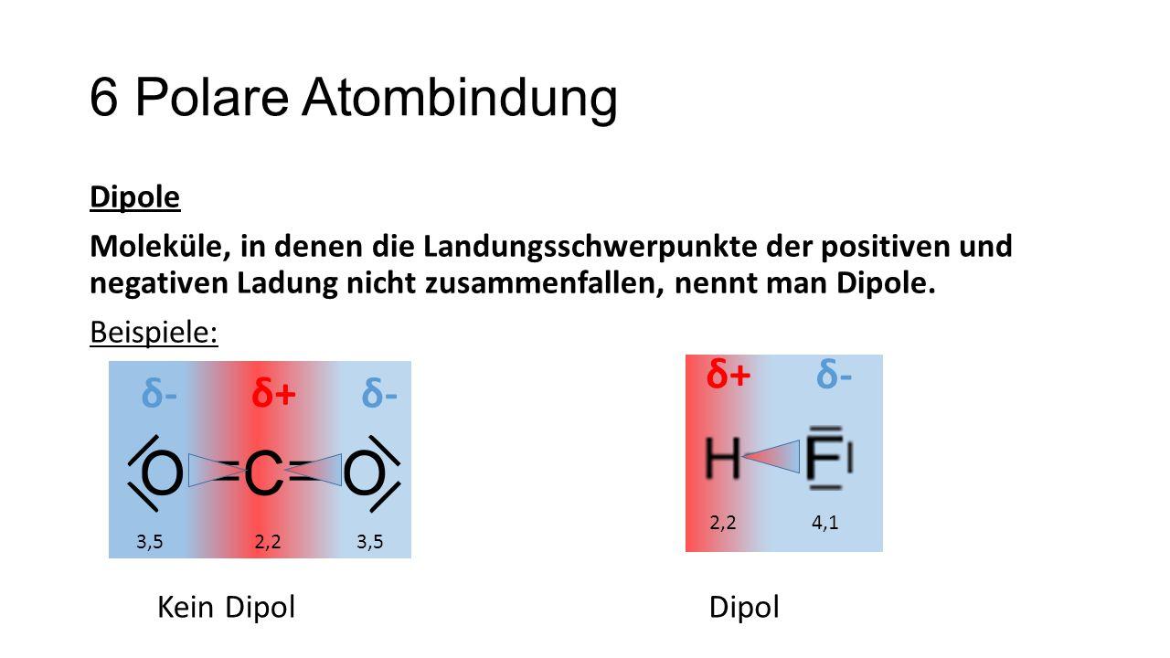 6 Polare Atombindung δ+ δ- δ- δ+ δ-